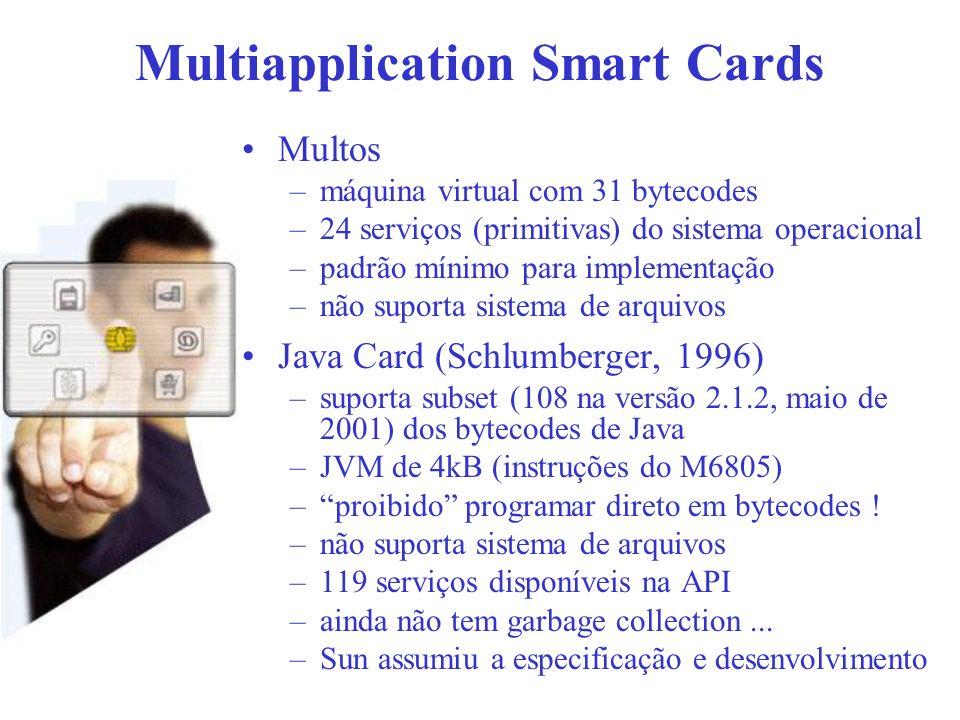 Multiapplication Smart Cards Multos –máquina virtual com 31 bytecodes –24 serviços (primitivas) do sistema operacional –padrão mínimo para implementaç