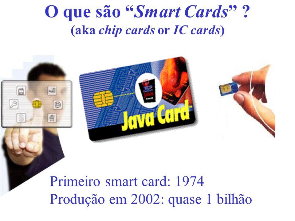 O que são Smart Cards ? (aka chip cards or IC cards) Primeiro smart card: 1974 Produção em 2002: quase 1 bilhão