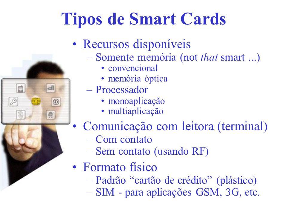 Tipos de Smart Cards Recursos disponíveis –Somente memória (not that smart...) convencional memória óptica –Processador monoaplicação multiaplicação C