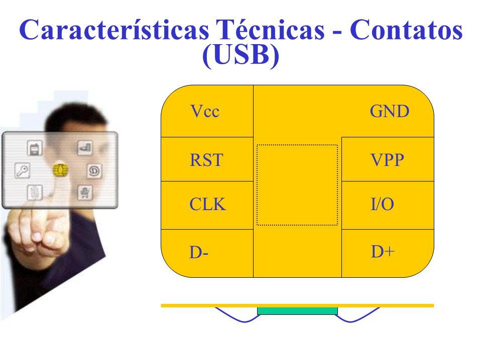 Características Técnicas - Contatos (USB) Vcc RST CLK D- D+ I/O VPP GND