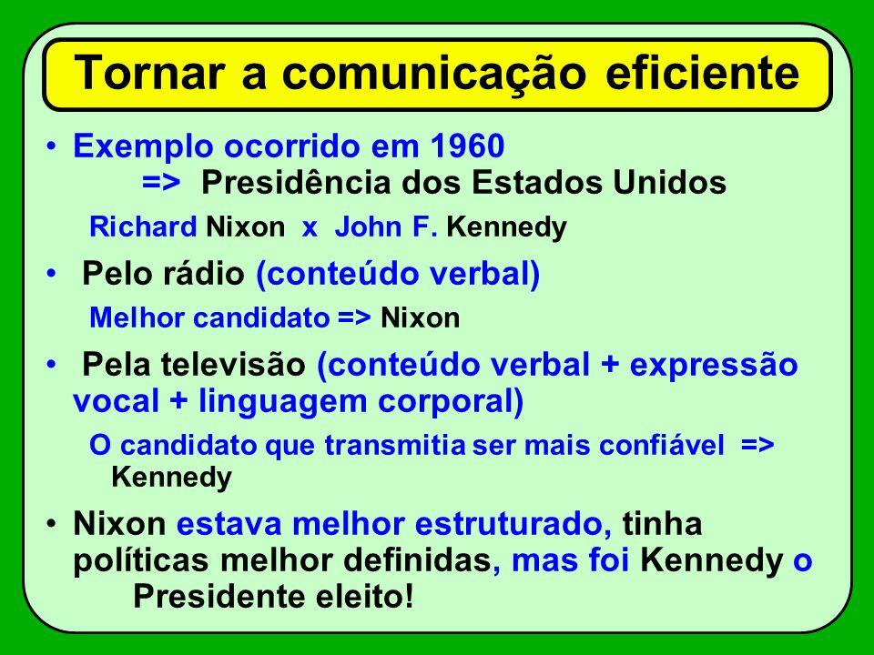 Tornar a comunicação eficiente Exemplo ocorrido em 1960 => Presidência dos Estados Unidos Richard Nixon x John F. Kennedy Pelo rádio (conteúdo verbal)
