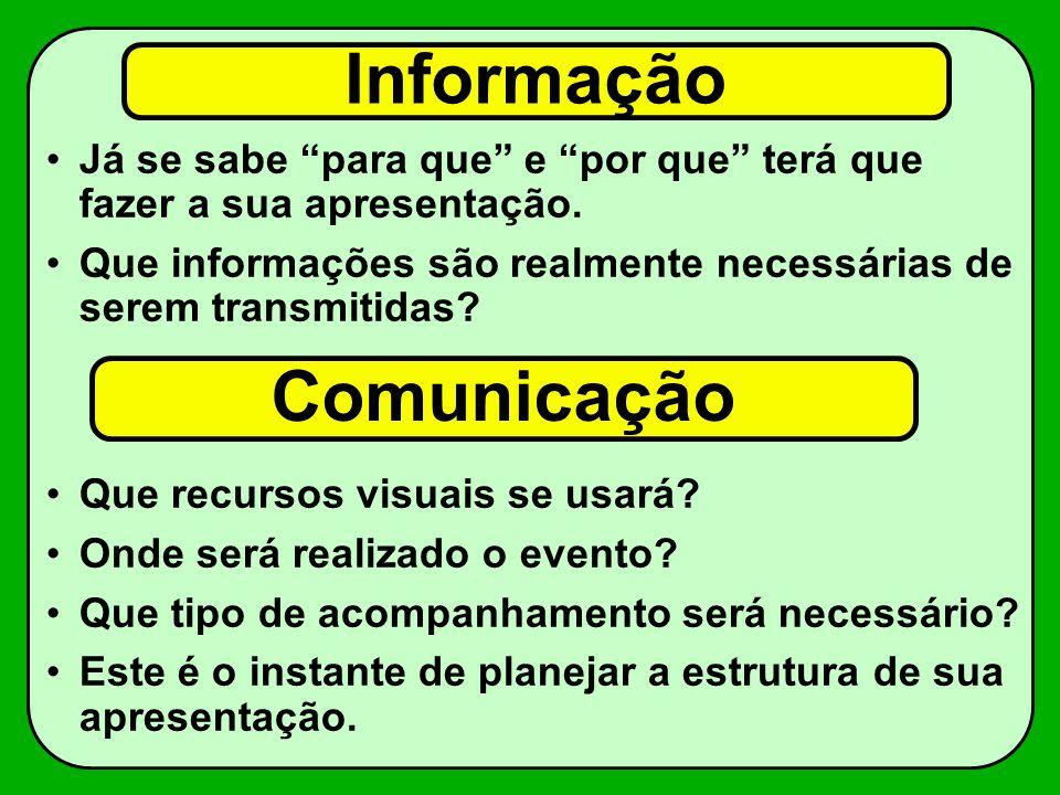 Informação Já se sabe para que e por que terá que fazer a sua apresentação. Que informações são realmente necessárias de serem transmitidas? Que recur