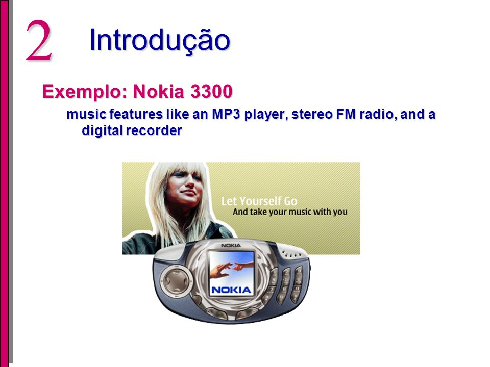 2Introdução Exemplo: Nokia 3300 music features like an MP3 player, stereo FM radio, and a digital recorder