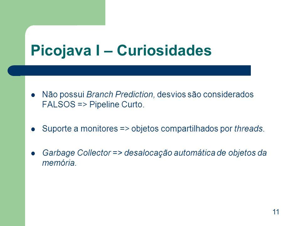 Picojava I – Curiosidades Não possui Branch Prediction, desvios são considerados FALSOS => Pipeline Curto. Suporte a monitores => objetos compartilhad