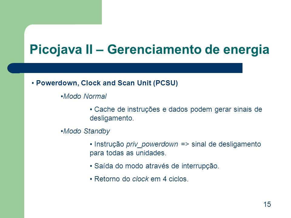 Picojava II – Gerenciamento de energia 15 Powerdown, Clock and Scan Unit (PCSU) Modo Normal Cache de instruções e dados podem gerar sinais de desligam