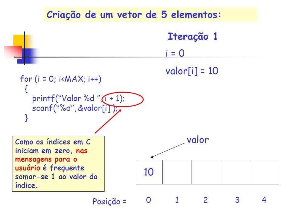 valor i = 0 valor[i] = 10 10 0 1 2 3 4 Posição = Criação de um vetor de 5 elementos: Iteração 1 for (i = 0; i<MAX; i++) { printf(Valor %d, i + 1); sca