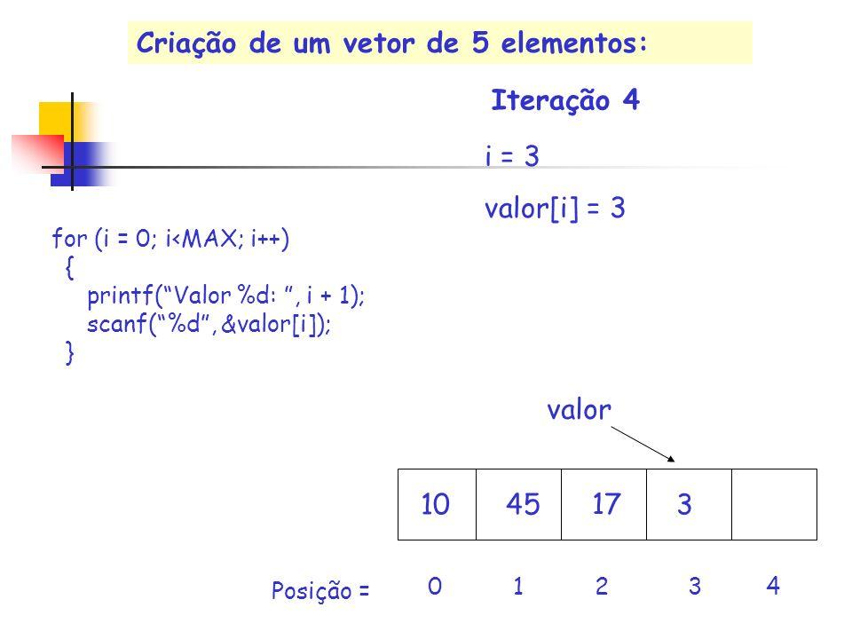 17 valor i = 3 valor[i] = 3 10453 0 1 2 3 4 Iteração 4 Posição = for (i = 0; i<MAX; i++) { printf(Valor %d:, i + 1); scanf(%d, &valor[i]); } Criação d