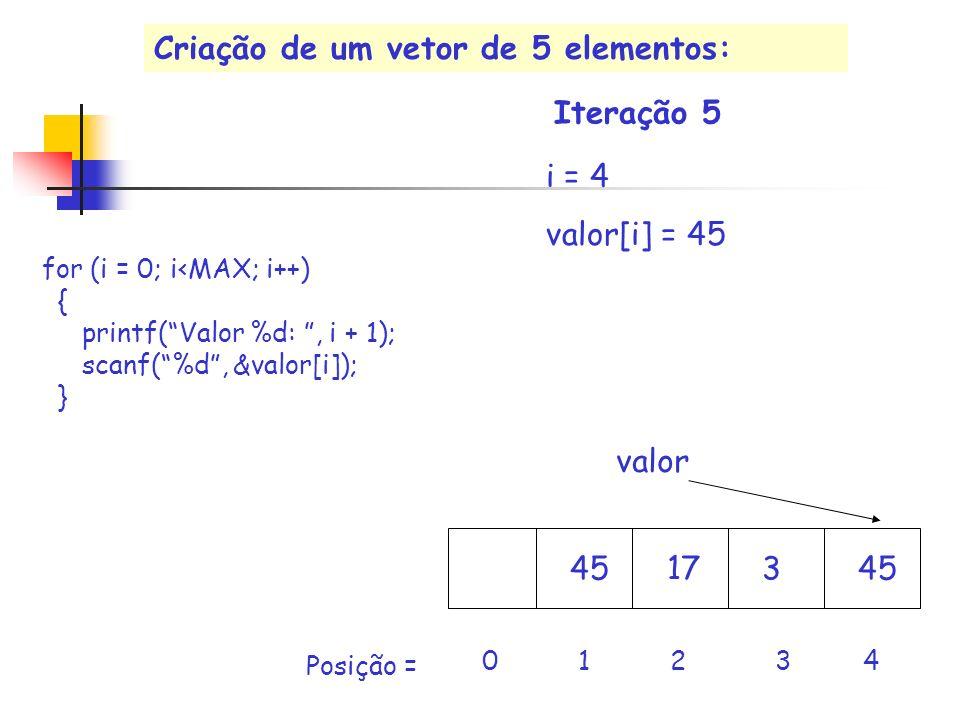 17 valor i = 4 valor[i] = 45 453 0 1 2 3 4 Iteração 5 Posição = for (i = 0; i<MAX; i++) { printf(Valor %d:, i + 1); scanf(%d, &valor[i]); } Criação de