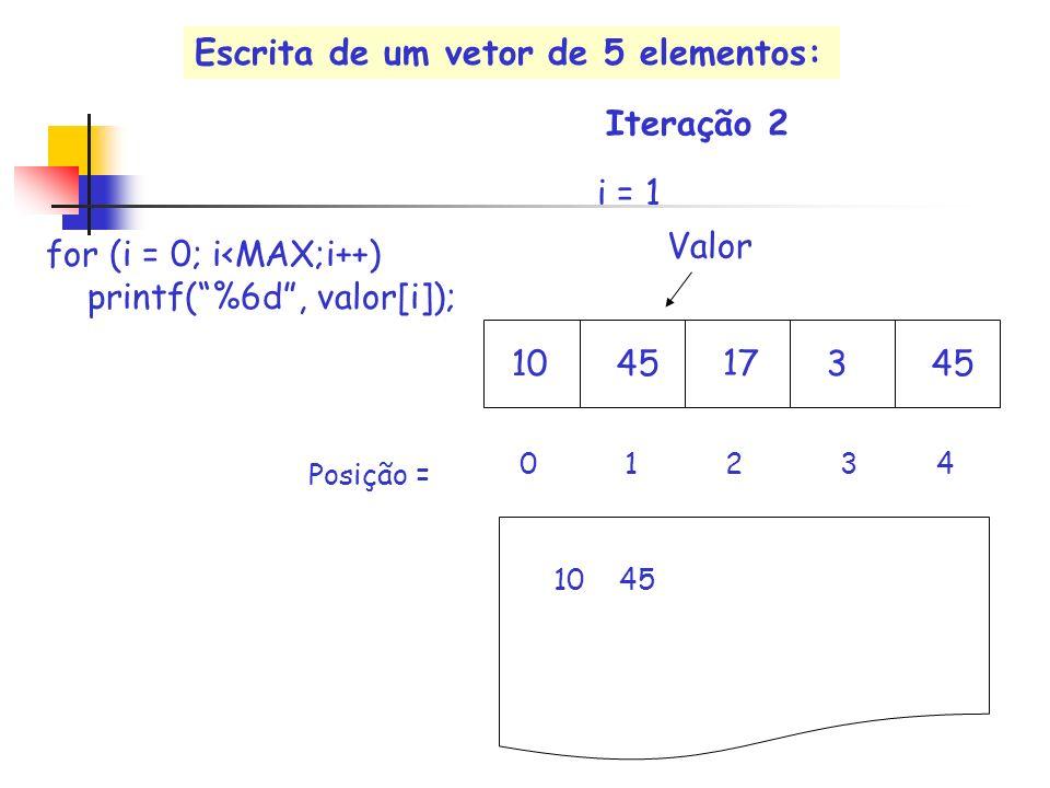 17 Valor i = 1 10453 0 1 2 3 4 for (i = 0; i<MAX;i++) printf(%6d, valor[i]); 10 45 Iteração 2 Posição = Escrita de um vetor de 5 elementos:
