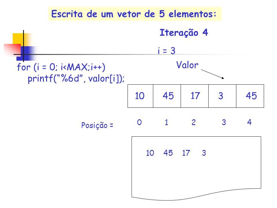 17 Valor i = 3 10453 0 1 2 3 4 for (i = 0; i<MAX;i++) printf(%6d, valor[i]); 10 45 17 3 Iteração 4 Posição = Escrita de um vetor de 5 elementos: