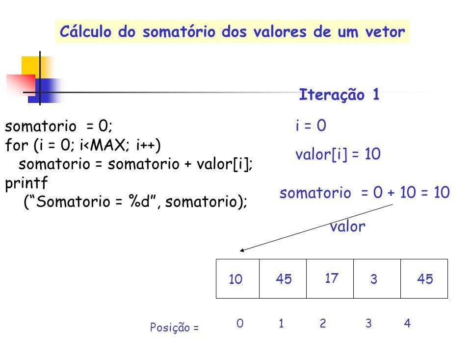 valor i = 0 valor[i] = 10 0 1 2 3 4 Posição = somatorio = 0 + 10 = 10 Iteração 1 somatorio = 0; for (i = 0; i<MAX; i++) somatorio = somatorio + valor[