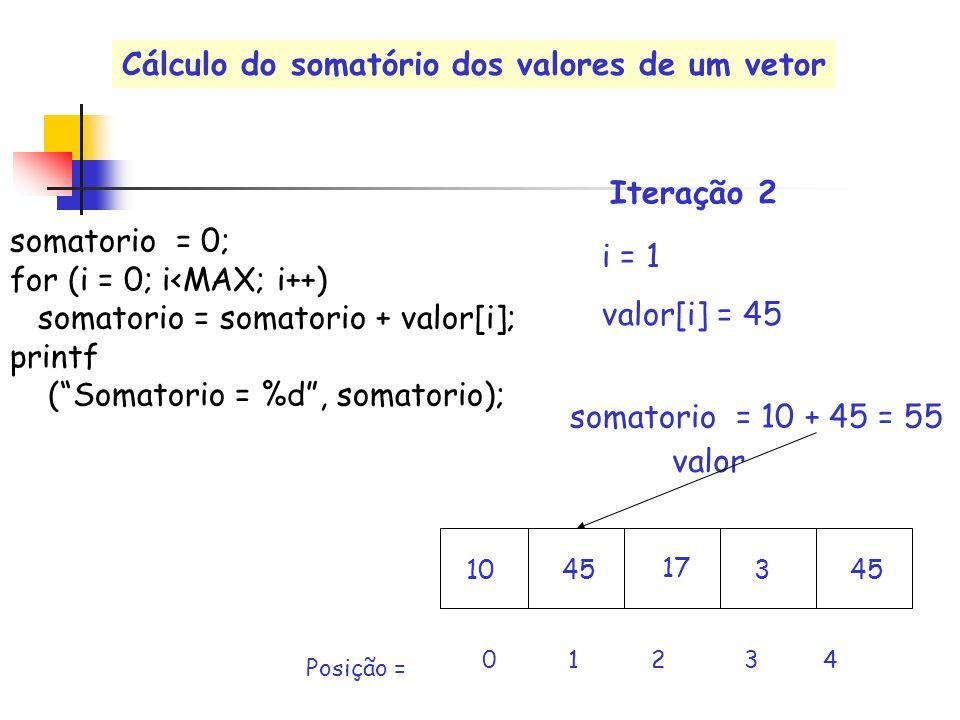 valor i = 1 valor[i] = 45 0 1 2 3 4 Posição = somatorio = 10 + 45 = 55 Iteração 2 somatorio = 0; for (i = 0; i<MAX; i++) somatorio = somatorio + valor