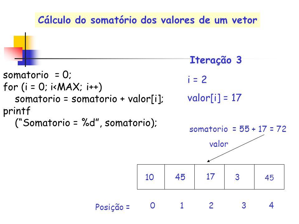 valor i = 2 valor[i] = 17 0 1 2 3 4 Posição = somatorio = 55 + 17 = 72 Iteração 3 somatorio = 0; for (i = 0; i<MAX; i++) somatorio = somatorio + valor