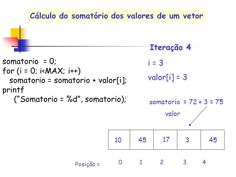 valor i = 3 valor[i] = 3 0 1 2 3 4 Posição = somatorio = 72 + 3 = 75 Iteração 4 somatorio = 0; for (i = 0; i<MAX; i++) somatorio = somatorio + valor[i