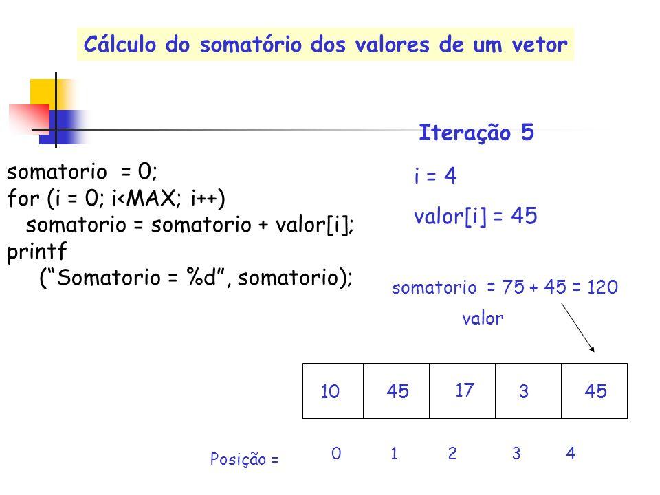 valor i = 4 valor[i] = 45 0 1 2 3 4 Posição = somatorio = 75 + 45 = 120 Iteração 5 somatorio = 0; for (i = 0; i<MAX; i++) somatorio = somatorio + valo