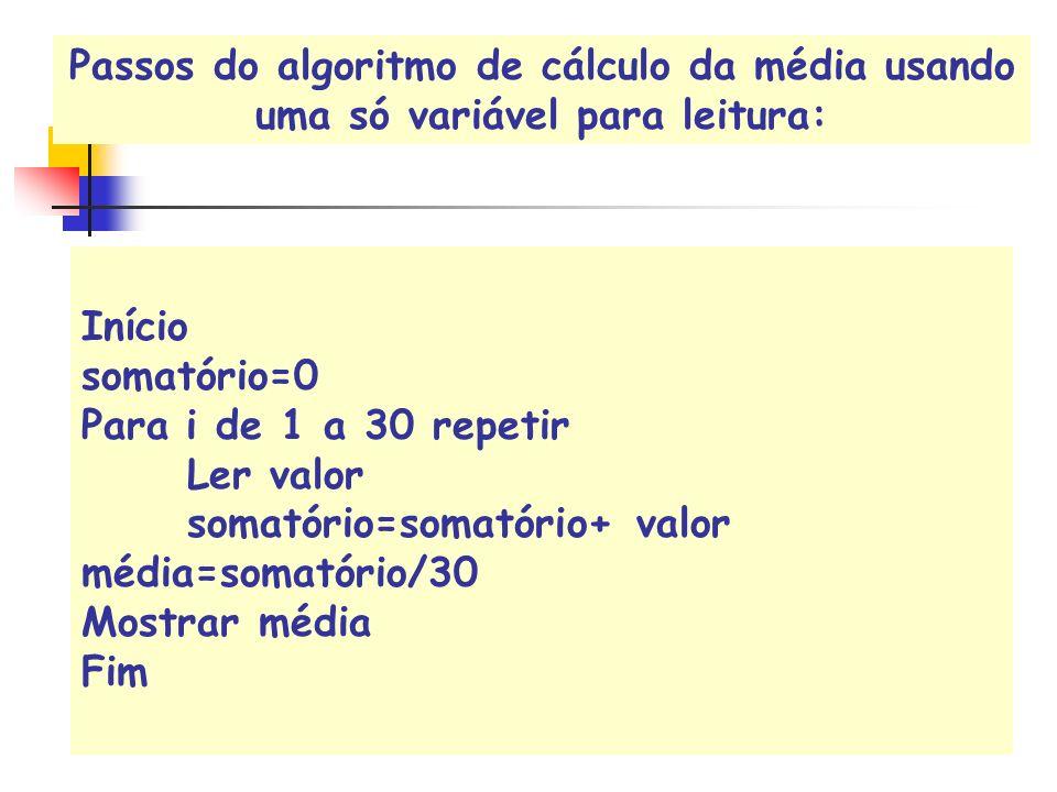 Início somatório=0 Para i de 1 a 30 repetir Ler valor somatório=somatório+ valor média=somatório/30 Mostrar média Fim Passos do algoritmo de cálculo d