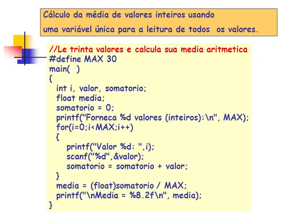 #include main(){ float valor[8]; int i; float soma=0,media; for (i=0;i<8;i++){ printf( \nvalor %d: ,i+1); scanf( %f ,&valor[i]); soma=soma+valor[i]; } media=soma/8; printf( \nA media dos valores e : %6.2f ,media); printf( \nvalores maiores que a media: ); for (i = 0; i<8;i++) if (valor[i]>media) printf( %7.2f , valor[i]); system( pause ); }