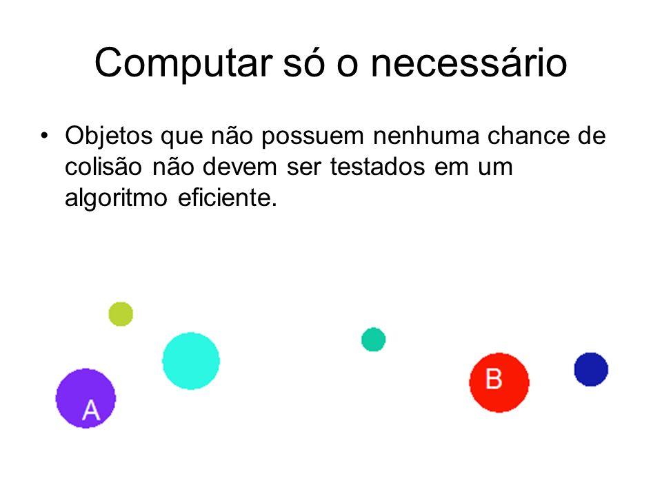 Computar só o necessário Objetos que não possuem nenhuma chance de colisão não devem ser testados em um algoritmo eficiente.