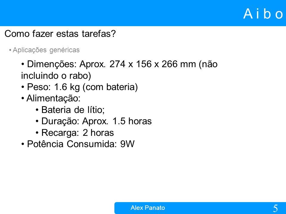 5 A i b o Alex Panato Como fazer estas tarefas. Aplicações genéricas Dimenções: Aprox.
