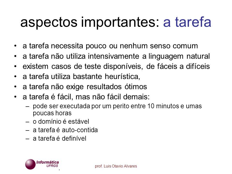 prof. Luis Otavio Alvares aspectos importantes: a tarefa a tarefa necessita pouco ou nenhum senso comum a tarefa não utiliza intensivamente a linguage
