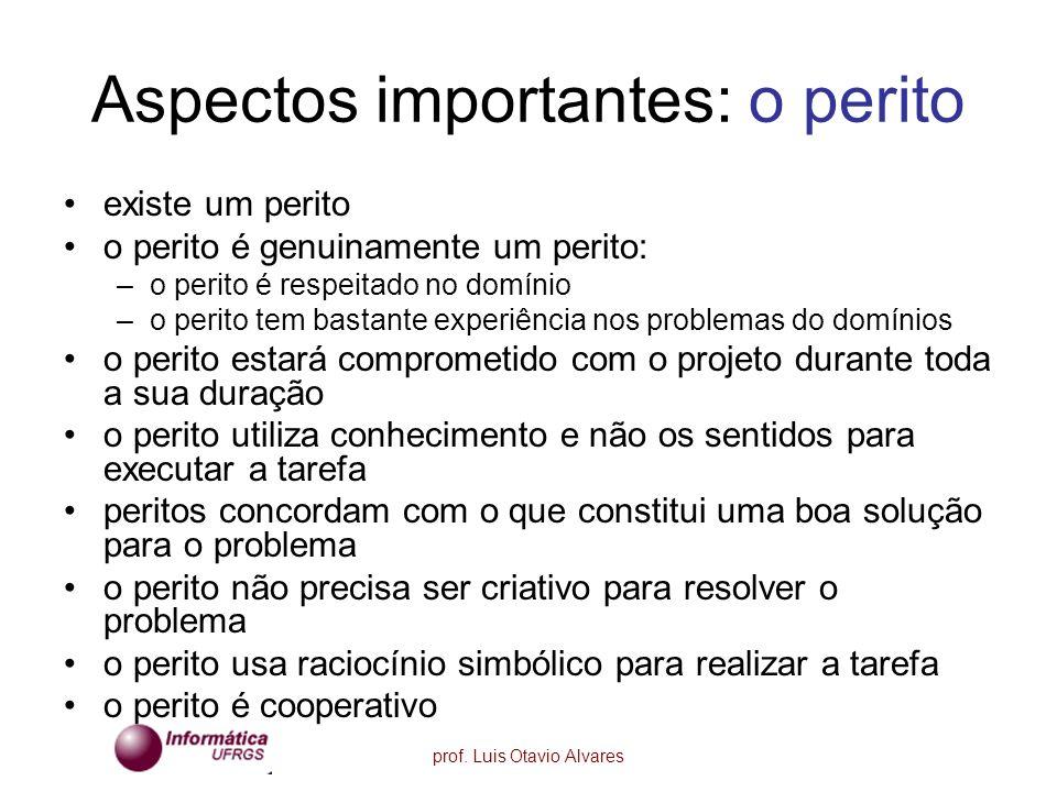 prof. Luis Otavio Alvares Aspectos importantes: o perito existe um perito o perito é genuinamente um perito: –o perito é respeitado no domínio –o peri