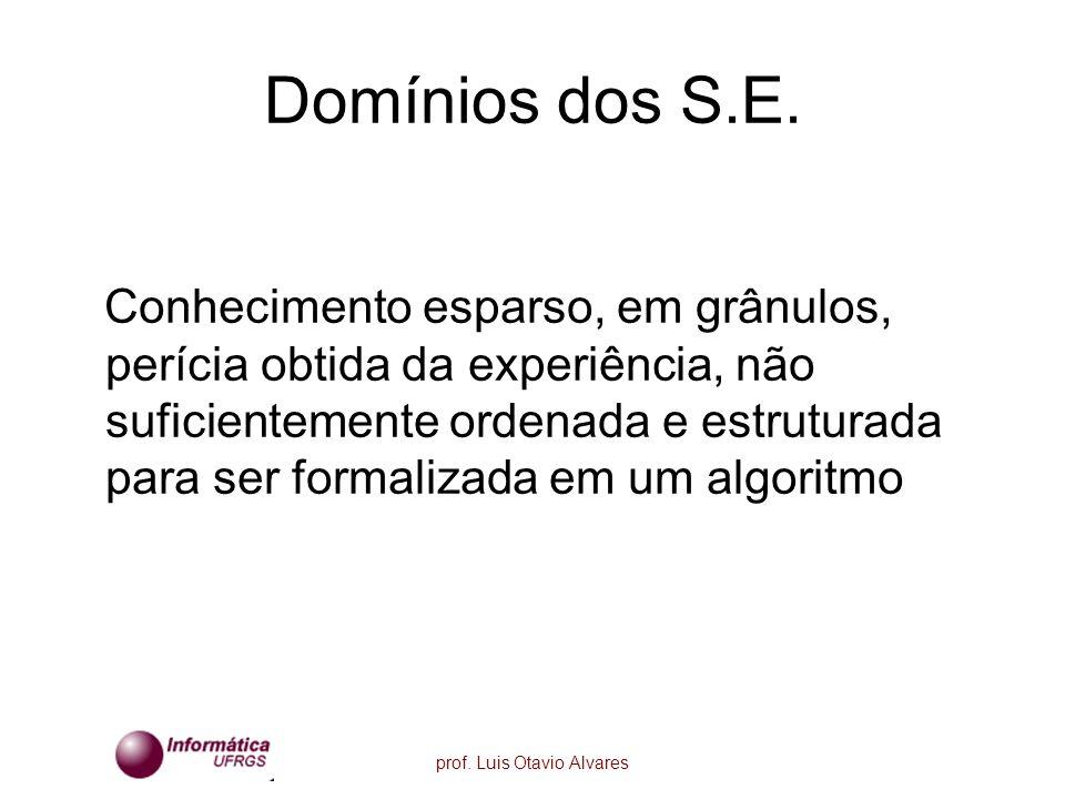 prof. Luis Otavio Alvares Domínios dos S.E. Conhecimento esparso, em grânulos, perícia obtida da experiência, não suficientemente ordenada e estrutura