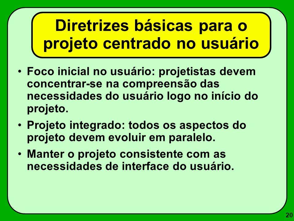 20 Diretrizes básicas para o projeto centrado no usuário Foco inicial no usuário: projetistas devem concentrar-se na compreensão das necessidades do u