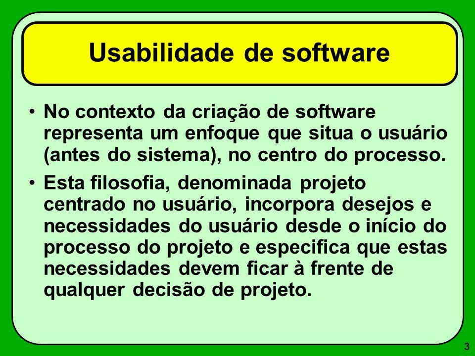 4 Usabilidade de software Alguns autores associam a usabilidade a princípios tais como: –facilidade de aprendizado, –facilidade de lembrar como realizar uma tarefa após algum tempo, –rapidez no desenvolvimento de tarefas, –baixa taxa de erros e –satisfação subjetiva do usuário.