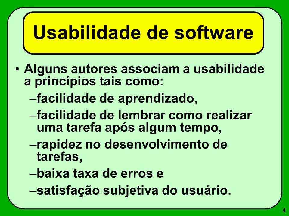 4 Usabilidade de software Alguns autores associam a usabilidade a princípios tais como: –facilidade de aprendizado, –facilidade de lembrar como realiz