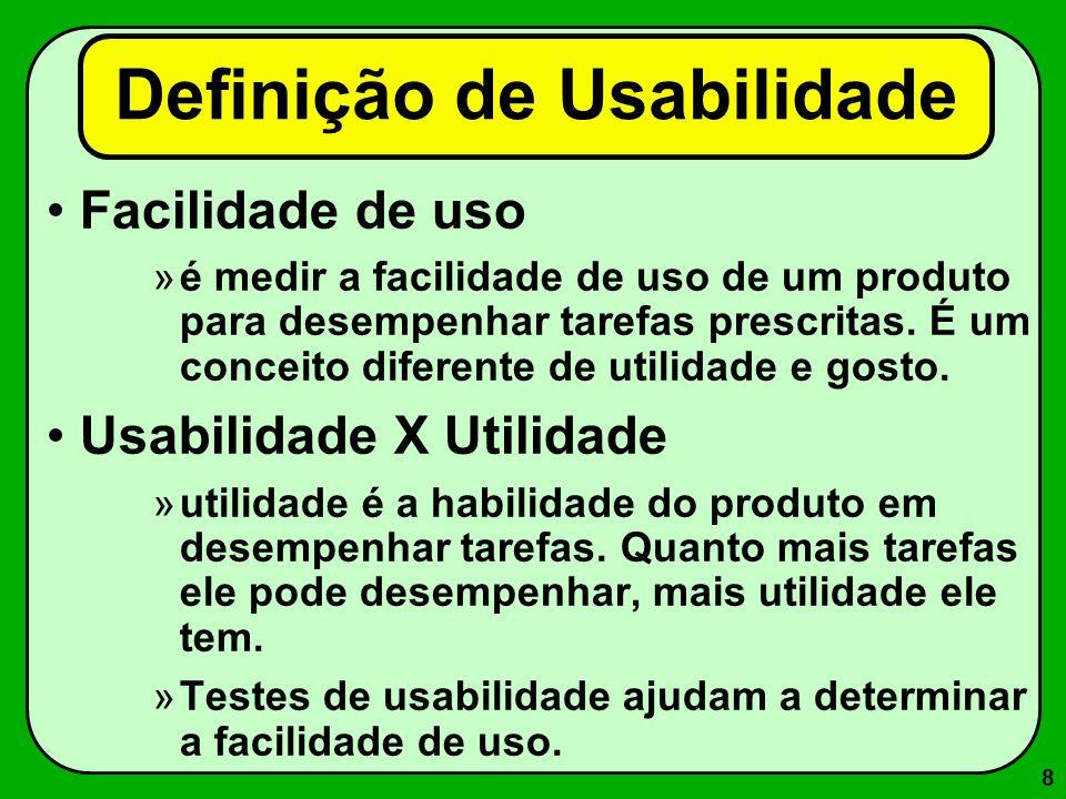 39 Princípios da Usabilidade (segundo Dix [1993]) Aprendizado –A facilidade com que novos usuários podem iniciar uma efetiva interação e obter desempenho máximo.