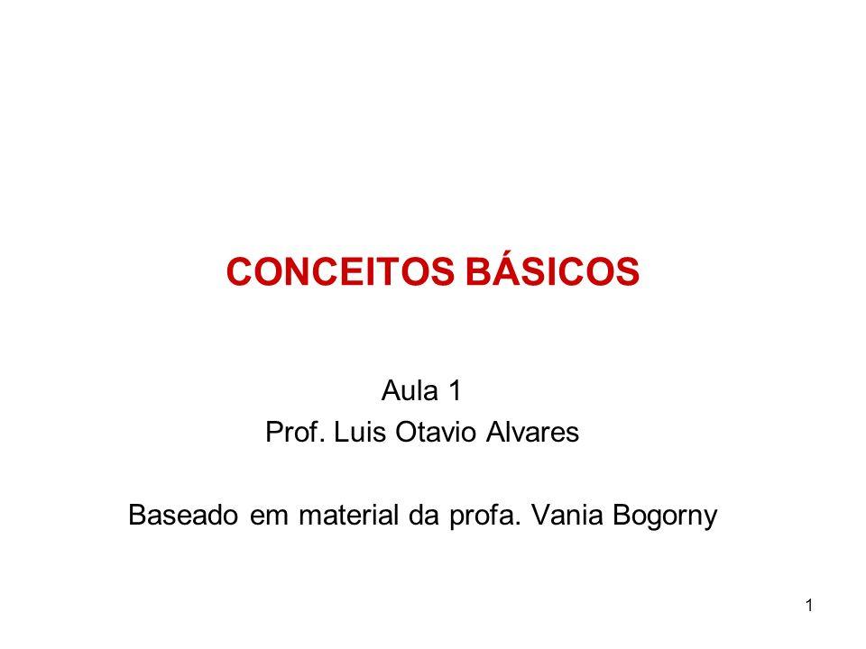 1 CONCEITOS BÁSICOS Aula 1 Prof. Luis Otavio Alvares Baseado em material da profa. Vania Bogorny