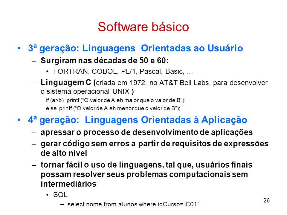 26 Software básico 3ª geração: Linguagens Orientadas ao Usuário –Surgiram nas décadas de 50 e 60: FORTRAN, COBOL, PL/1, Pascal, Basic,... –Linguagem C