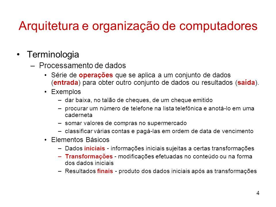 4 Arquitetura e organização de computadores Terminologia –Processamento de dados Série de operações que se aplica a um conjunto de dados (entrada) par