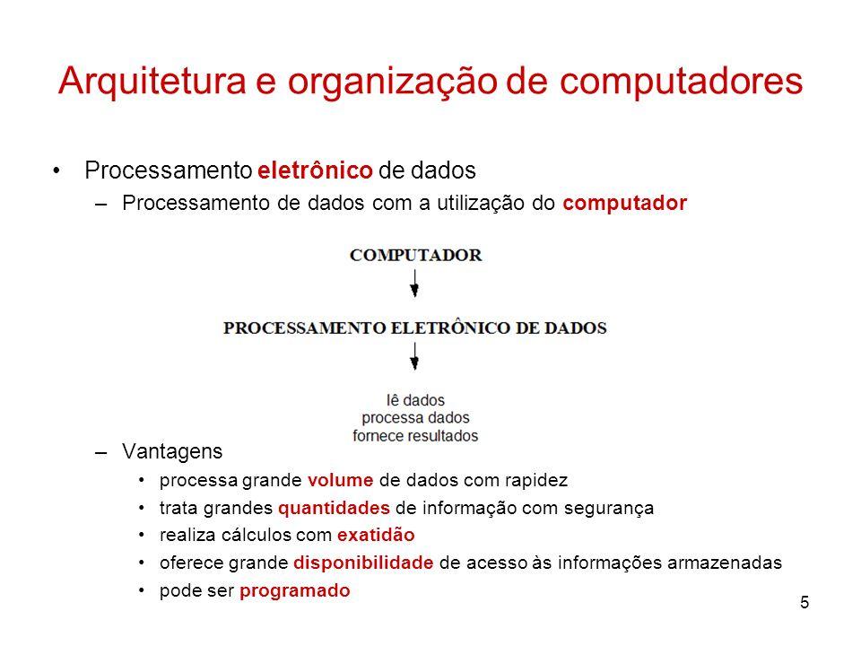 5 Arquitetura e organização de computadores Processamento eletrônico de dados –Processamento de dados com a utilização do computador –Vantagens proces