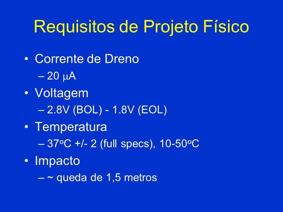 Requisitos de Projeto Físico Corrente de Dreno –20 A Voltagem –2.8V (BOL) - 1.8V (EOL) Temperatura –37 o C +/- 2 (full specs), 10-50 o C Impacto –~ qu