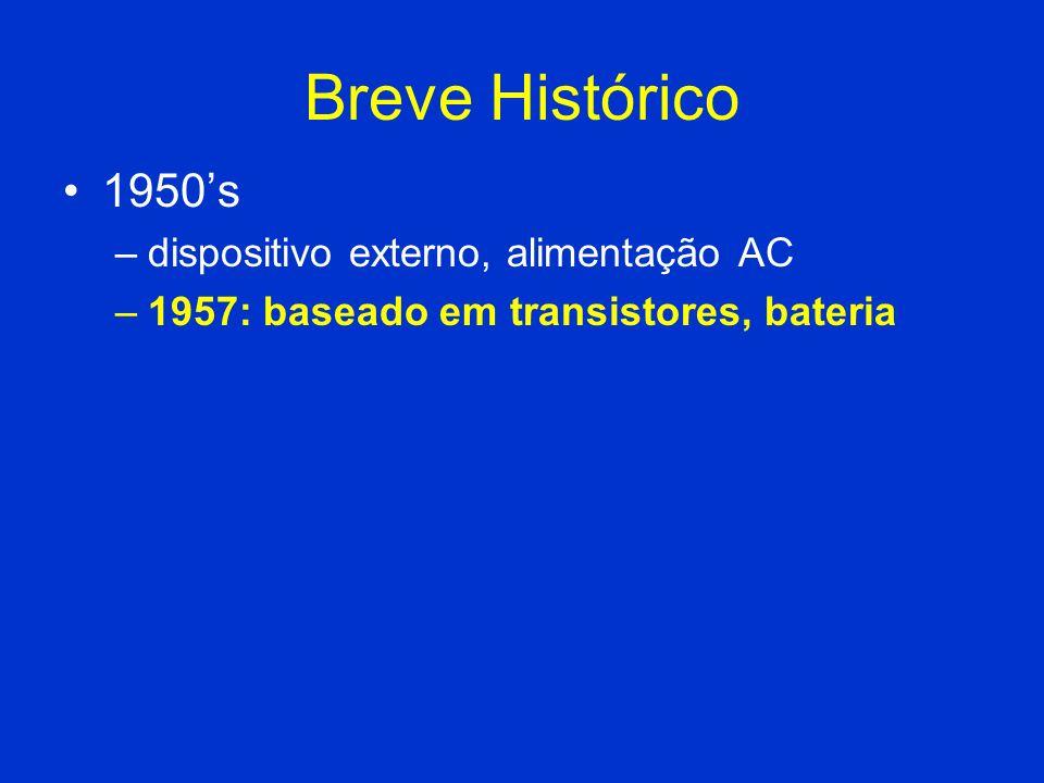 Breve Histórico 1950s –dispositivo externo, alimentação AC –1957: baseado em transistores, bateria
