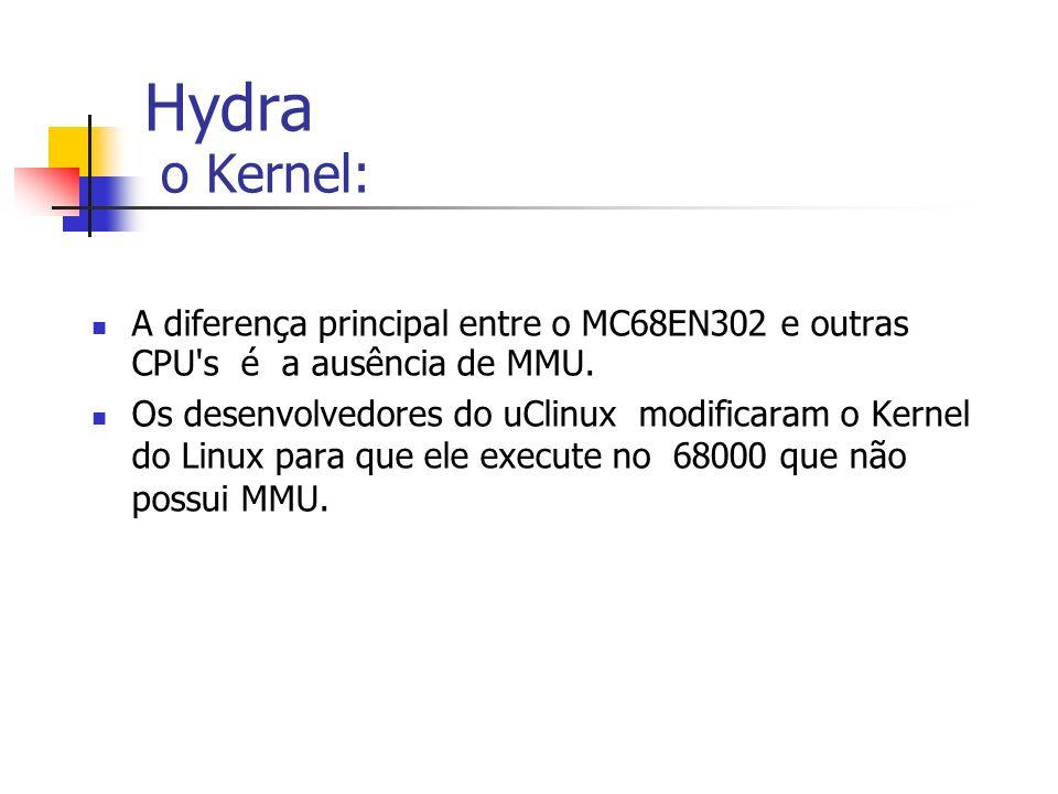 Hydra o Kernel: A diferença principal entre o MC68EN302 e outras CPU's é a ausência de MMU. Os desenvolvedores do uClinux modificaram o Kernel do Linu