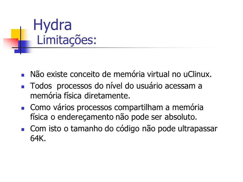 Hydra Limitações: Não existe conceito de memória virtual no uClinux. Todos processos do nível do usuário acessam a memória física diretamente. Como vá