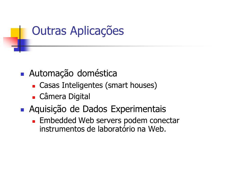 Outras Aplicações Automação doméstica Casas Inteligentes (smart houses) Câmera Digital Aquisição de Dados Experimentais Embedded Web servers podem con