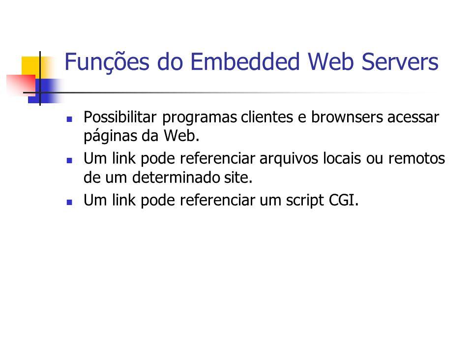 Funções do Embedded Web Servers Possibilitar programas clientes e brownsers acessar páginas da Web. Um link pode referenciar arquivos locais ou remoto