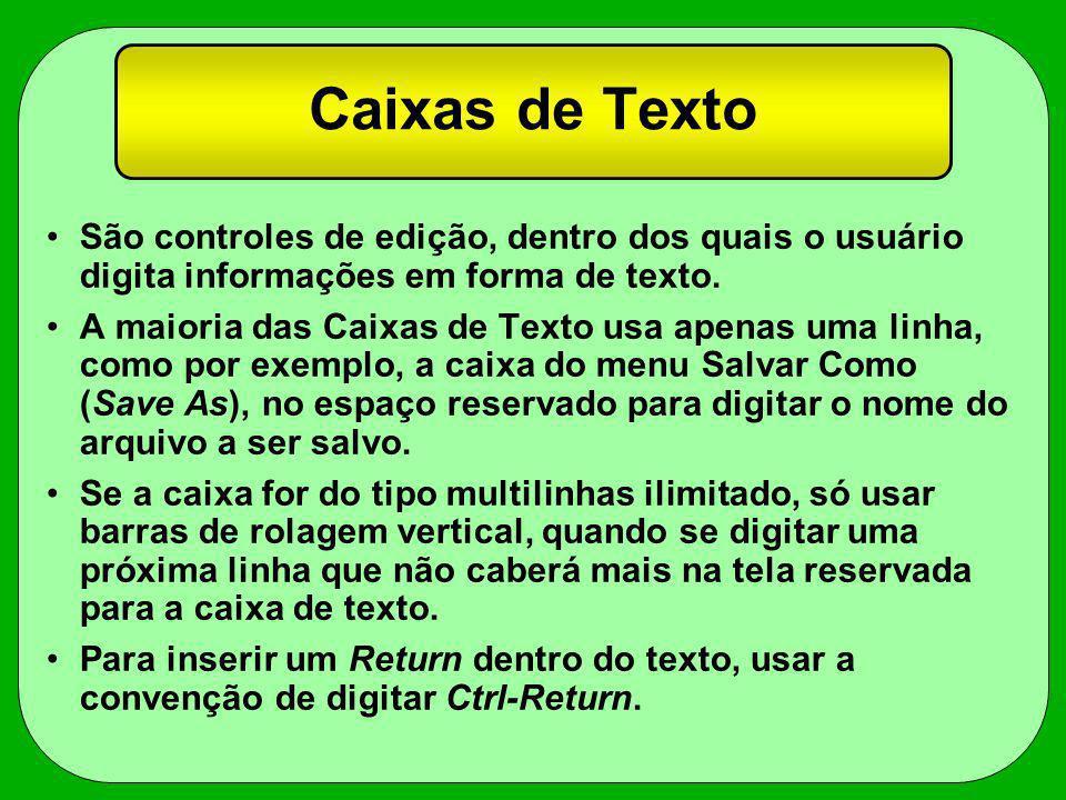 Caixas de Texto São controles de edição, dentro dos quais o usuário digita informações em forma de texto. A maioria das Caixas de Texto usa apenas uma