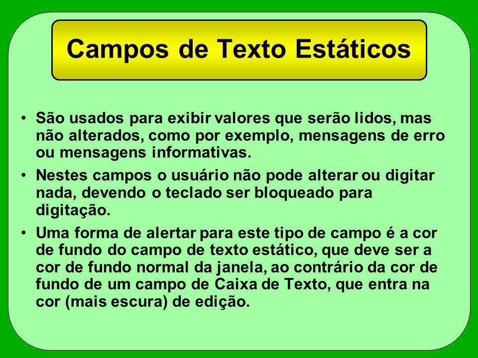 Campos de Texto Estáticos São usados para exibir valores que serão lidos, mas não alterados, como por exemplo, mensagens de erro ou mensagens informat