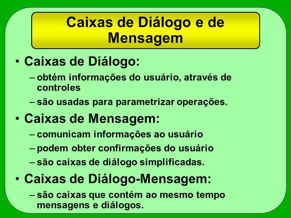 Caixas de Diálogo e de Mensagem Caixas de Diálogo: –obtém informações do usuário, através de controles –são usadas para parametrizar operações. Caixas