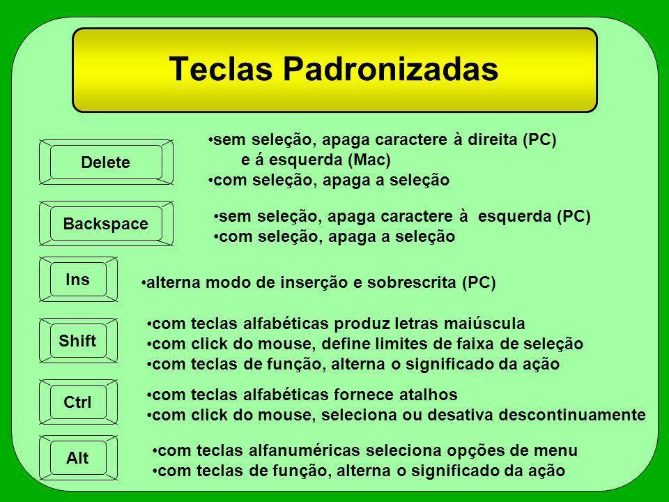 Teclas Padronizadas Delete Backspace Ins Shift Ctrl Alt sem seleção, apaga caractere à direita (PC) e á esquerda (Mac) com seleção, apaga a seleção se