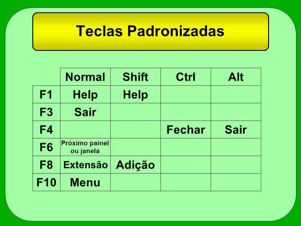 Teclas Padronizadas F1 F3 F4 F6 F8 F10 NormalShiftCtrlAlt Help Sair FecharSair Próximo painel ou janela Extensão Adição Menu