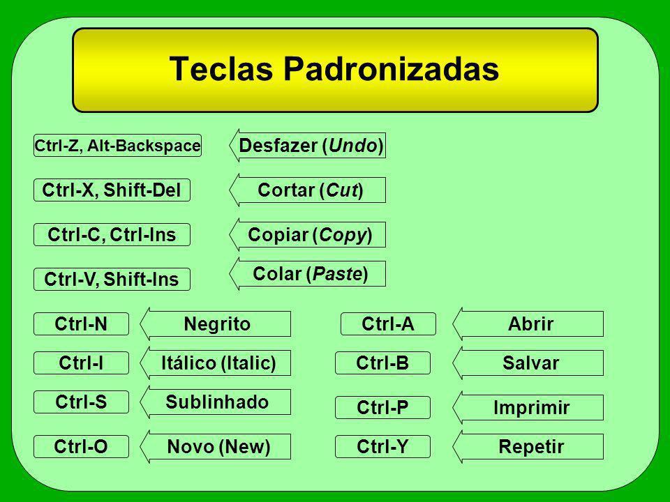 Teclas Padronizadas Ctrl-Z, Alt-Backspace Ctrl-C, Ctrl-Ins Ctrl-V, Shift-Ins Ctrl-X, Shift-Del Ctrl-N Ctrl-S Ctrl-O Ctrl-P Ctrl-A Ctrl-BCtrl-I Desfaze