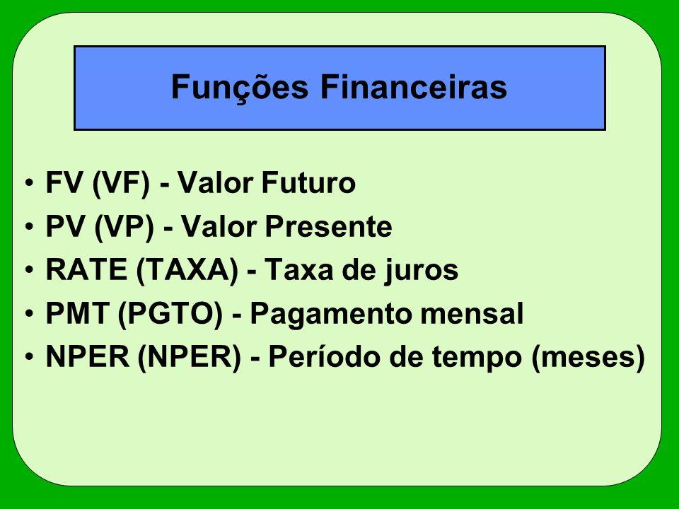 Funções Financeiras FV (VF) - Valor Futuro PV (VP) - Valor Presente RATE (TAXA) - Taxa de juros PMT (PGTO) - Pagamento mensal NPER (NPER) - Período de