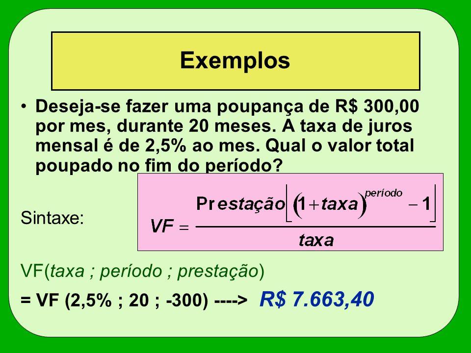 Exemplos Deseja-se fazer uma poupança de R$ 300,00 por mes, durante 20 meses. A taxa de juros mensal é de 2,5% ao mes. Qual o valor total poupado no f