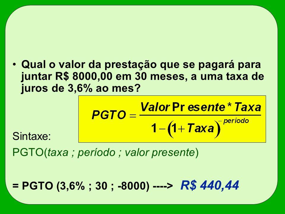 Qual o valor da prestação que se pagará para juntar R$ 8000,00 em 30 meses, a uma taxa de juros de 3,6% ao mes? Sintaxe: PGTO(taxa ; período ; valor p