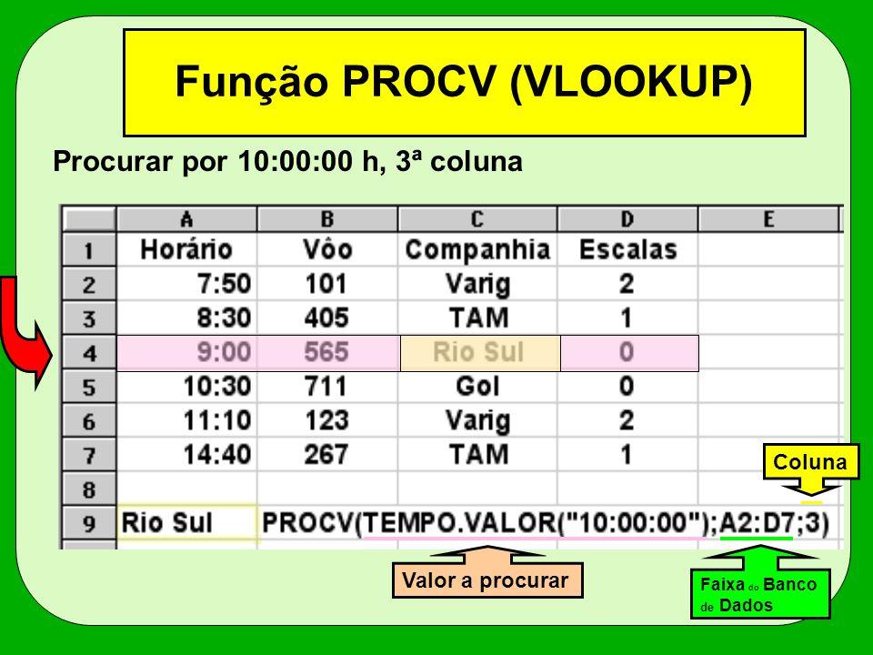 Função PROCV (VLOOKUP) Procurar por 10:00:00 h, 3ª coluna Valor a procurar Faixa do Banco de Dados Coluna